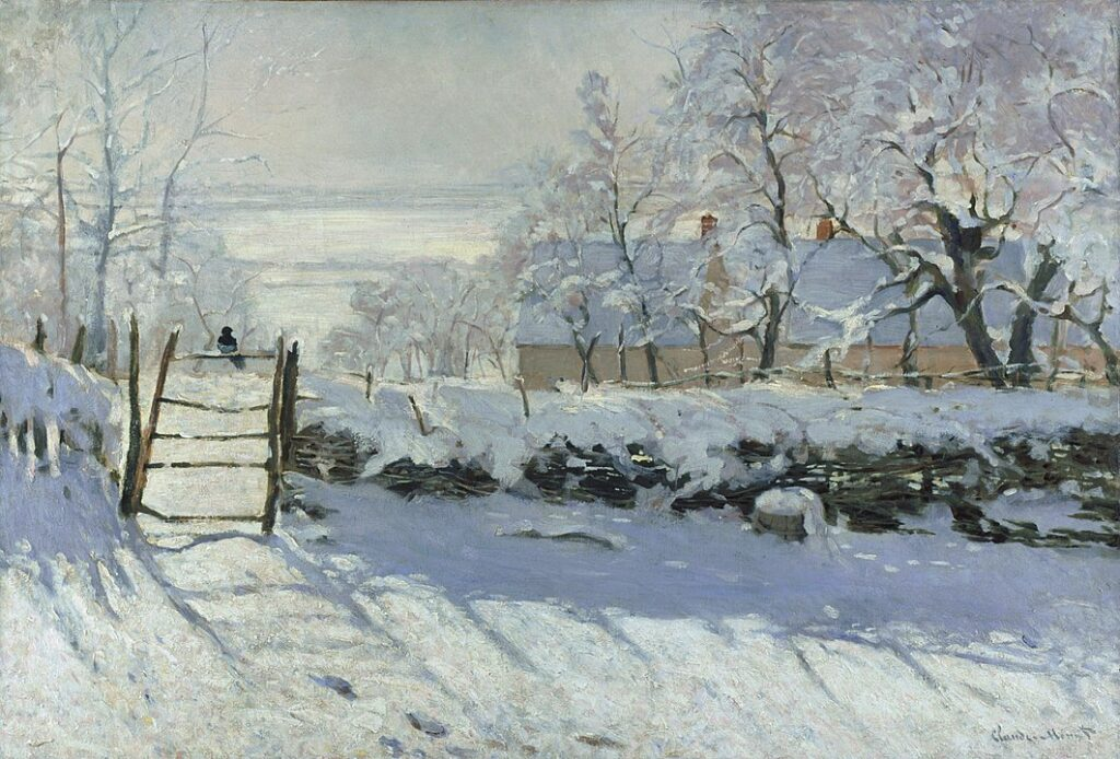 The Magpie by Monet, a famous winter landscape painting with a bird perching on a fence.