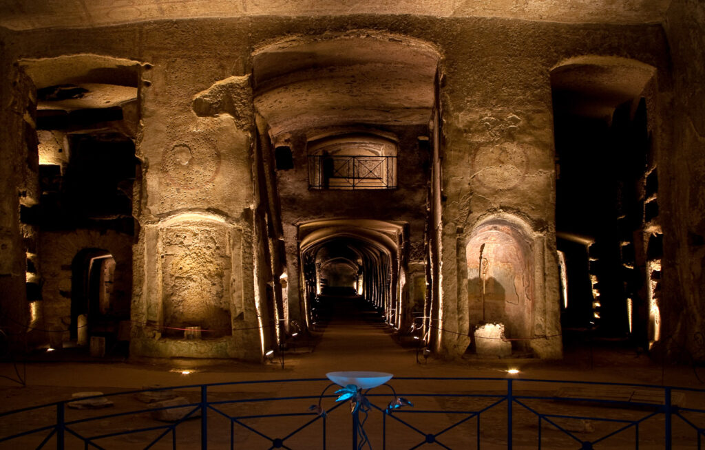 The lower level of the Catacombs of San Gennaro.