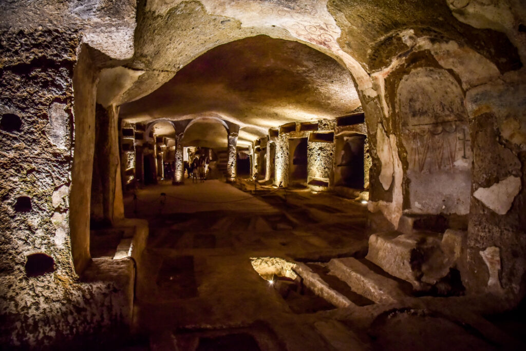 A chamber inside the Catacombs of San Gennaro.