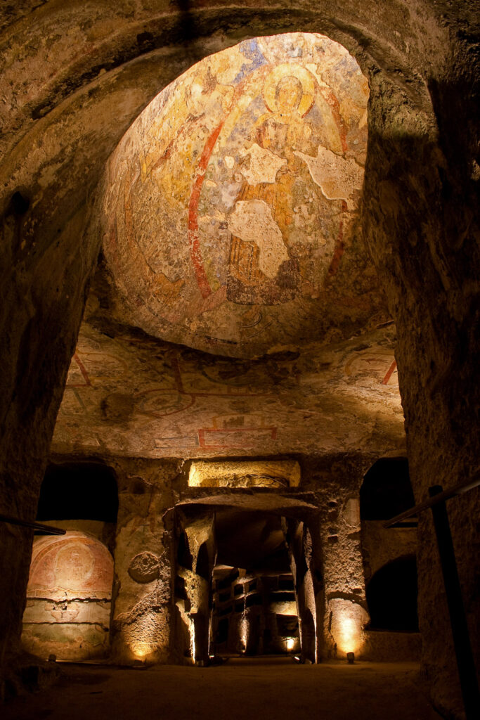 A ceiling fresco depicting Christ inside the Catacombs of San Gennaro.