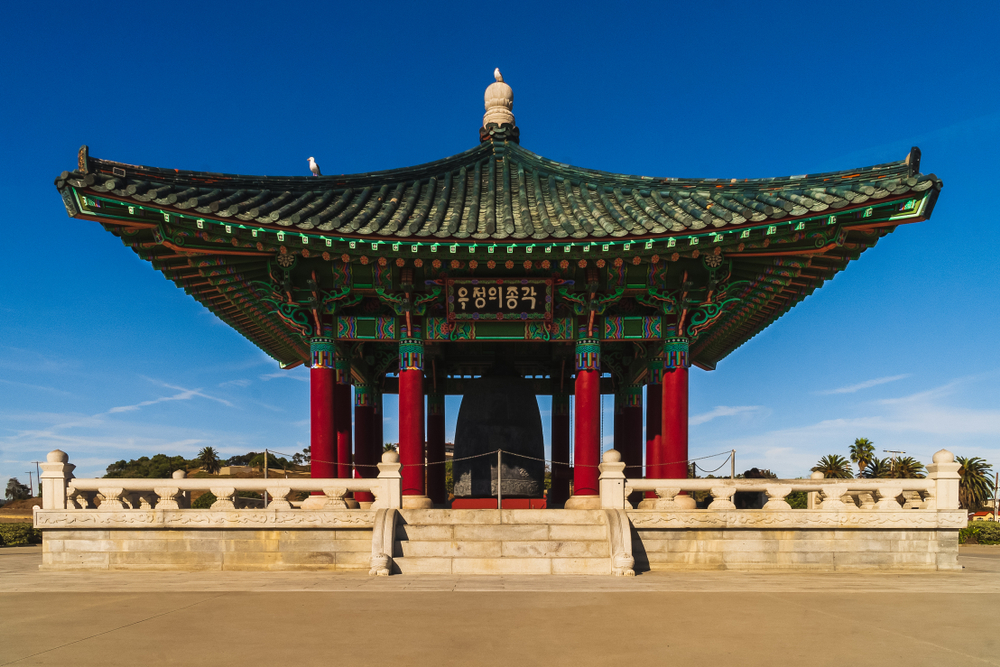 The Korean Friendship Bell in San Pedro, a colorful hidden gem in Los Angeles that was given to the city by the Republic of Korea.