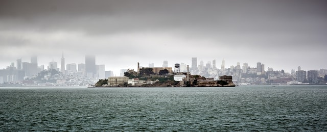 Wide angle shot of Alcatraz with San Francisco in the background