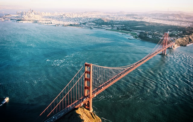 Aerial view of San Francisco with Golden Gate Bridge