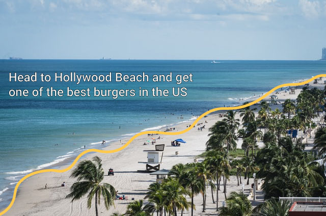 Shot of Miami's Hollywood Beach with palm trees