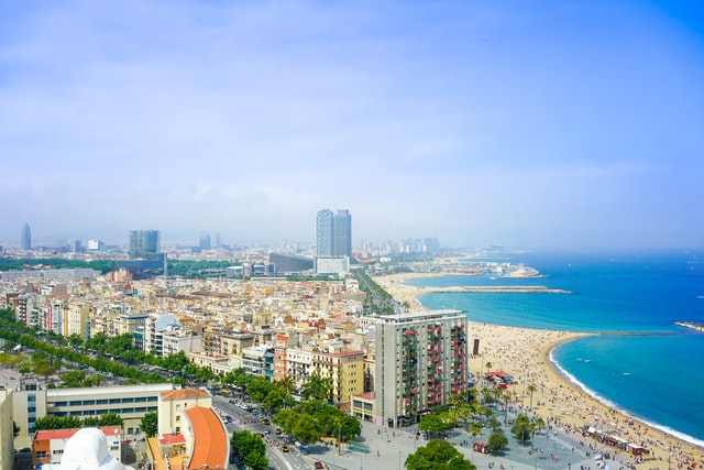 Aerial view of Barcelona showing it's potential as a great city beach break