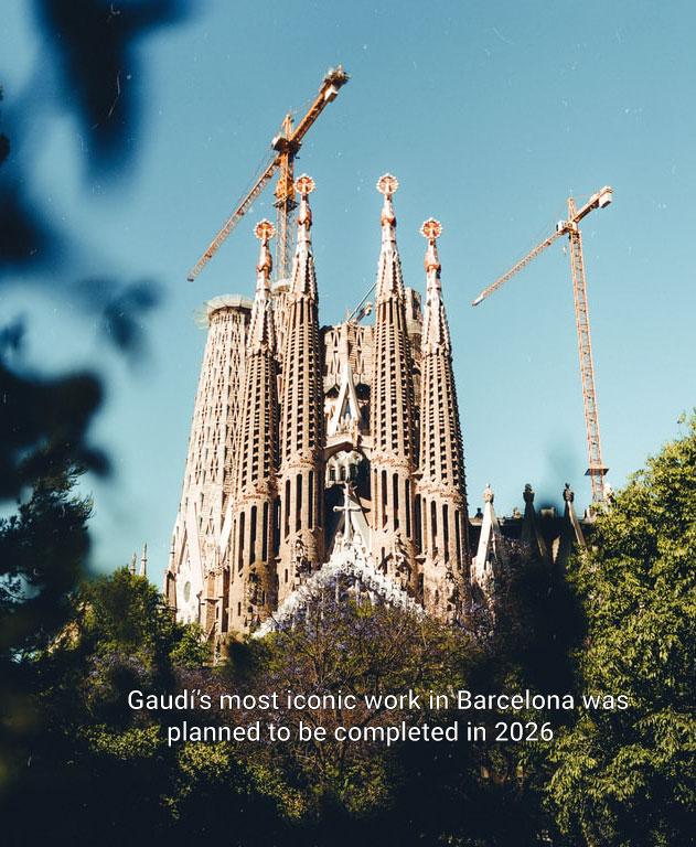 Sagrada Familia against a blue sky, surrounded by cranes