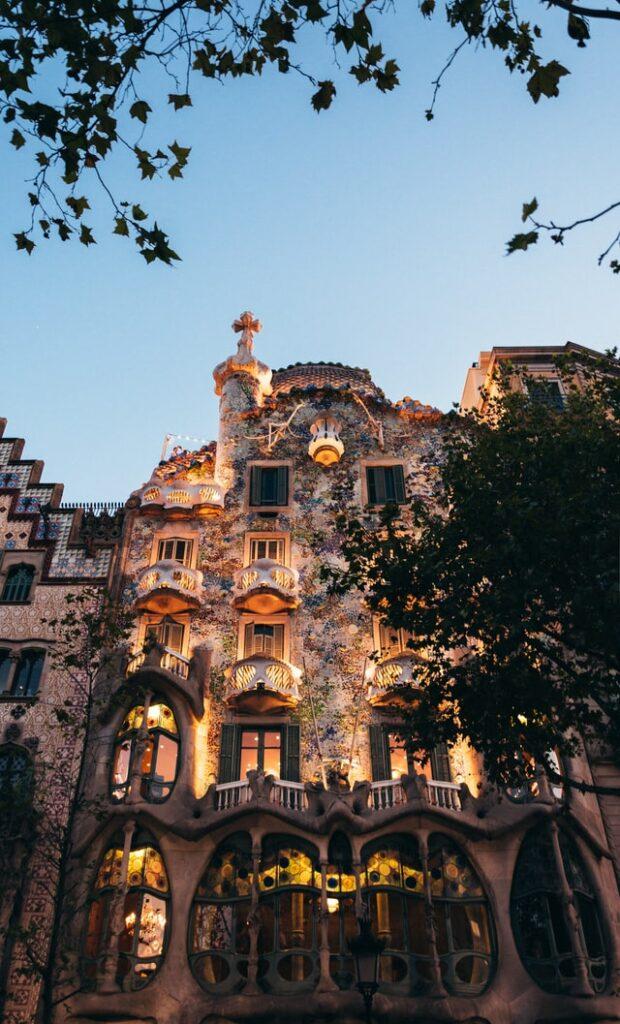 Bottom up view of Barcelona's Casa Battló at dusk