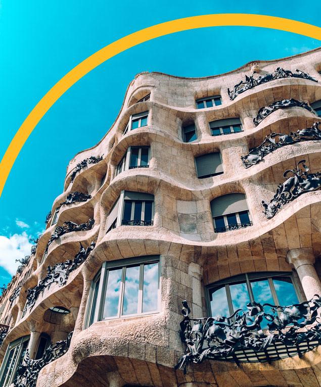 Looking up view of Barcelona's La Pedrera building