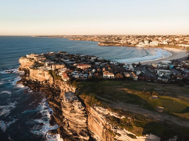 Aerial view of Sydney's east coast cliffs and Bondi Beach