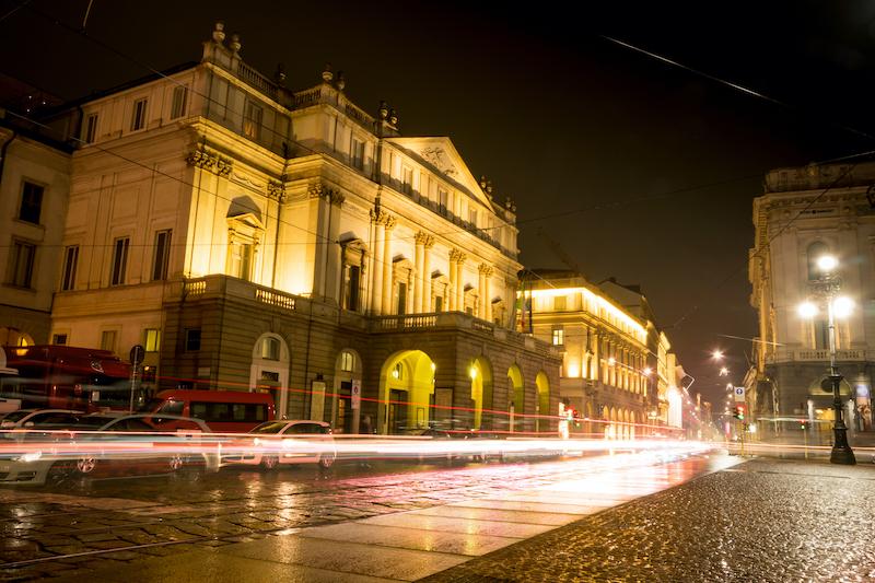 La Scala Theater in Milan at night.