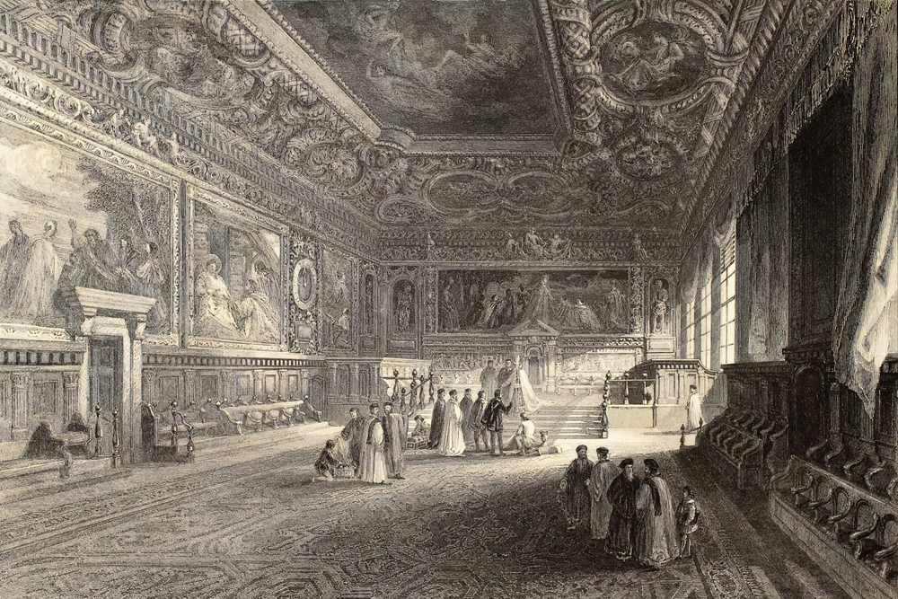 A historical drawing of the Doge's Palace in Venice, with lavish paintings in the background and aristocratic figures.