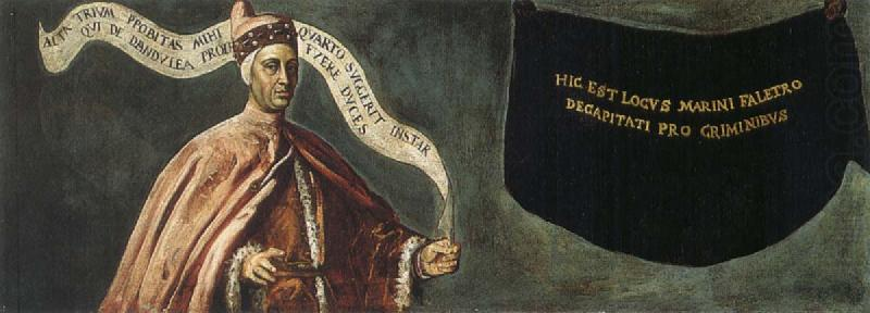The obscured image of the ill-fated Doge Marino Faliero, who was condemned to death for treason.