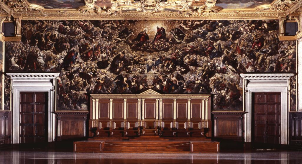 A picture of Paradise by Tintoretto, displayed inside the Doge's Palace in Venice.