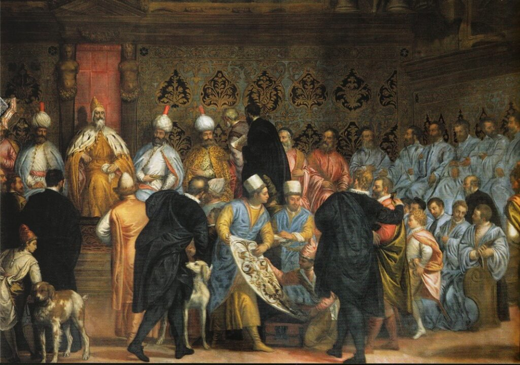 A painting by Caliari featuring a Persian delegation to Venice.
