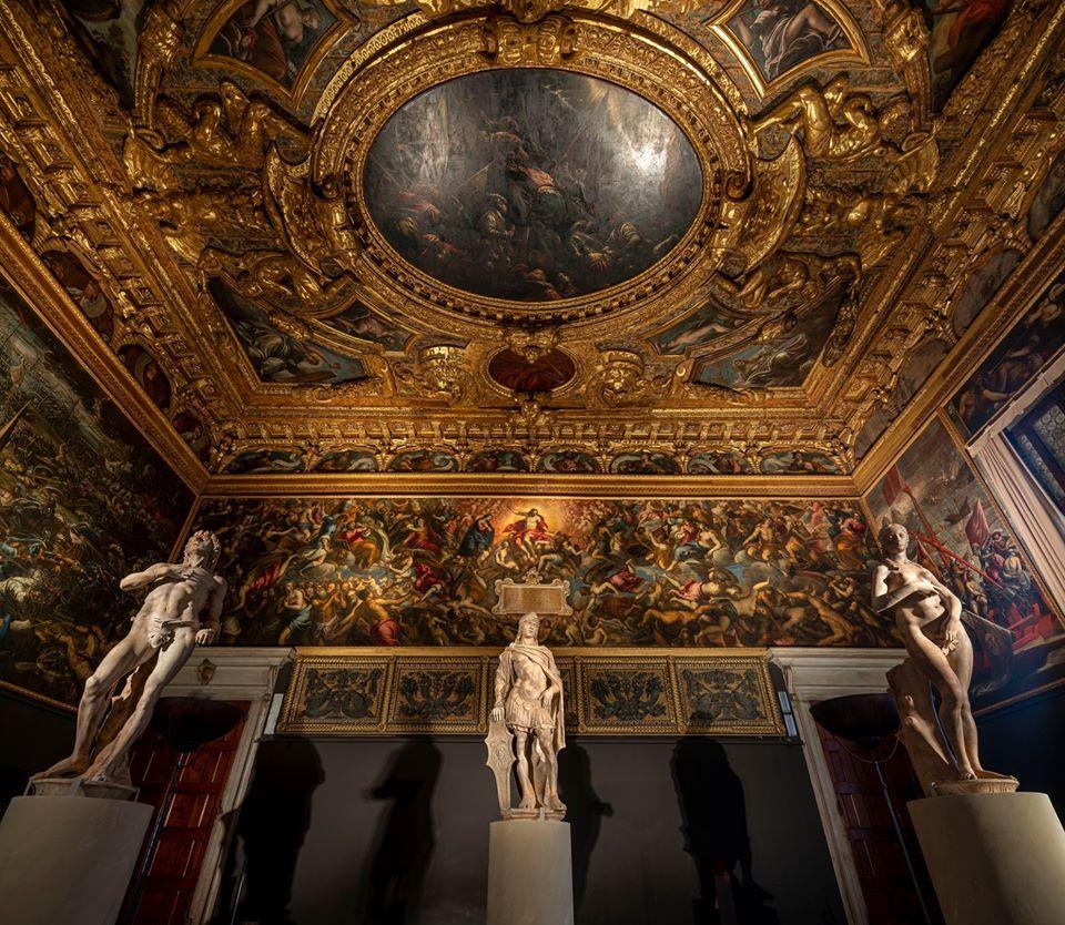 Three statues inside the Sala dello Scrutinio.