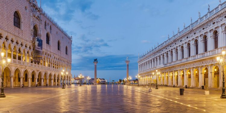 An outside view of the Doge's Palace in Venice.