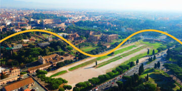 Aerial view of the Circus Maximus