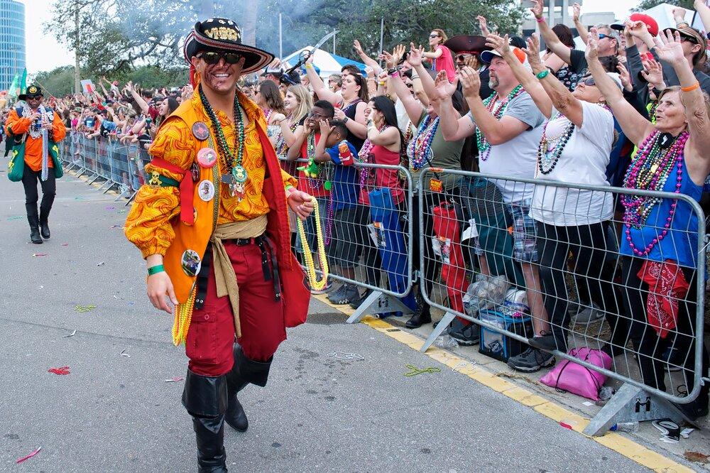A pirate within the Gasparilla Pirate Fest Pirate Parade