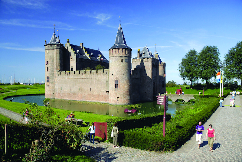 A view fo the moat at Muiderslot just outside of Amsterdam