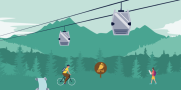 An illustration of the Parque Arví cable car with trees and mountains in the background.