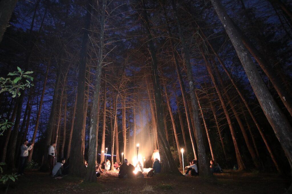 An evening campfire at Parque Arví.
